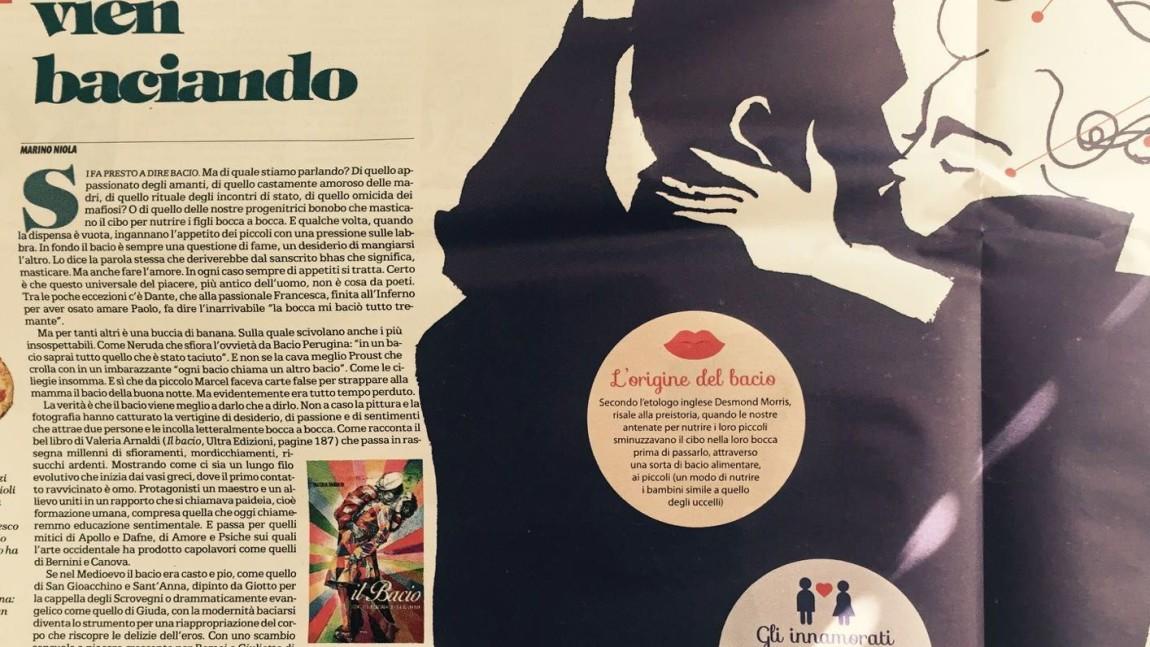 """L'articolo di Marino Niola su La Repubblica dedicato a """"Il bacio"""" di Valeria Arnaldi"""