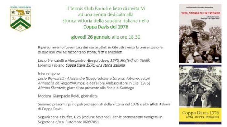 26/01 Ultra Sport – Tennis Club Parioli – Presentazione 1976 STORIA DI UN TRIONFO con Corrado Barazzutti e Nicola Pietrangeli