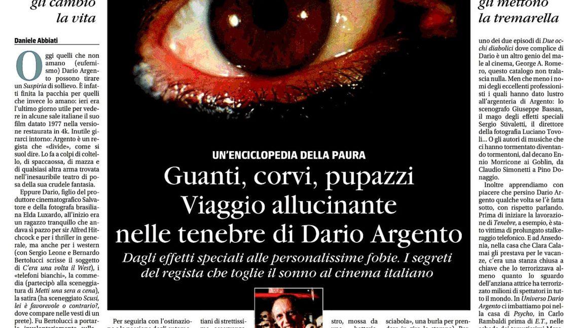 """""""Universo Dario Argento"""" su Il Giornale"""
