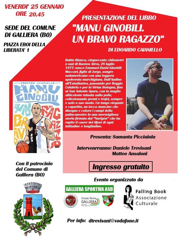 """25/01 – Presentazione del libro """"Manu Ginobili. Un bravo ragazzo"""" – Galliera"""
